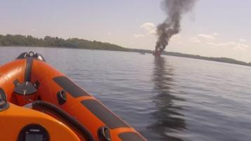Five rescued from cruiser on fire in Lough Derg