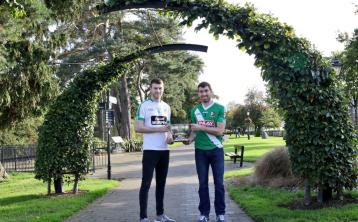 James Murray (Moorefield) and Sean Campbell (Sarsfields) with the Dermot Bourke Cup. Photo: Pat Tinsley